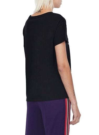 Armani Exchange  Baskılı % 100 Pamuklu Bisiklet Yaka T Shirt Kadın T Shırt S 6Hytas Yj73Z 1200 Siyah